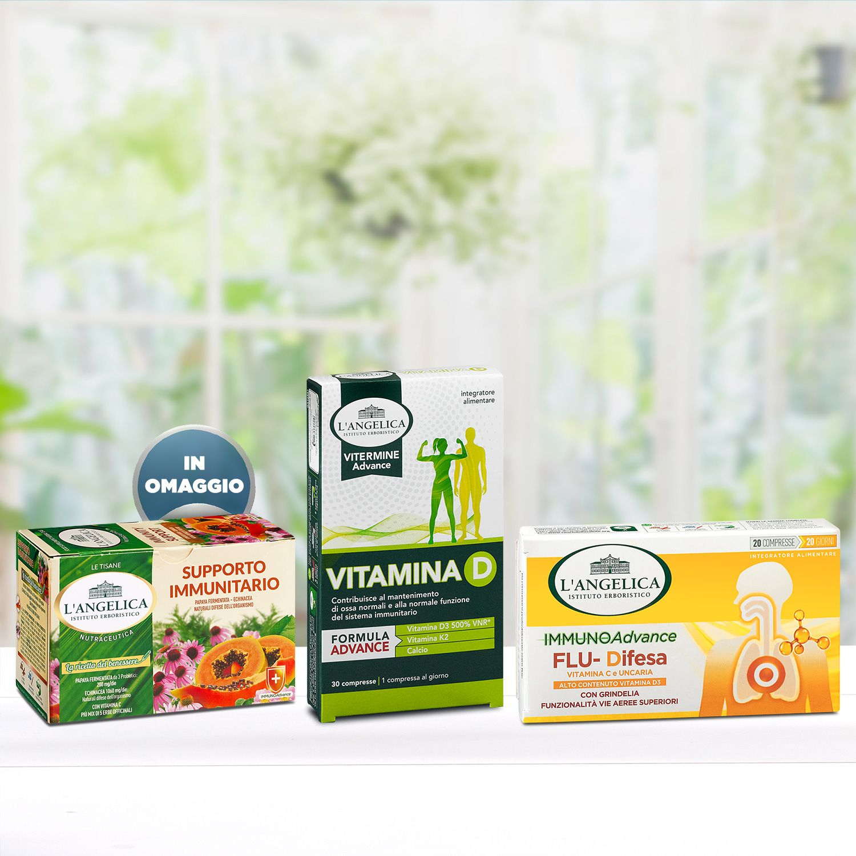 Pacchetto Flu-Difesa + Vitamina D + Tisana Supporto Immunitario in Omaggio