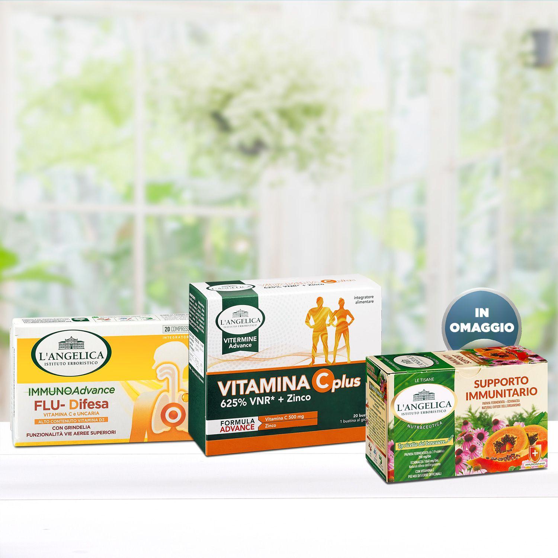 Pacchetto Flu-Difesa + Vitamina C Plus + Tisana Supporto Immunitario in Omaggio