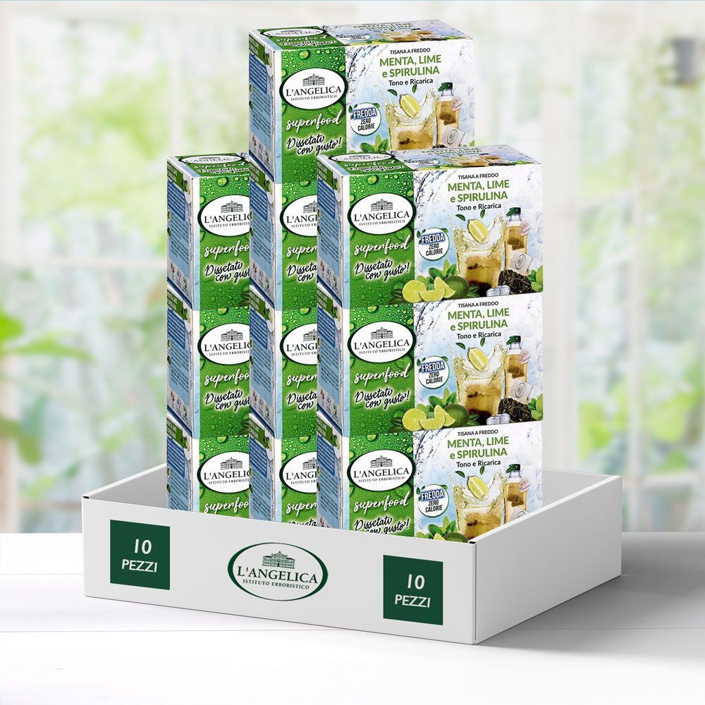 Multipack 10 pezzi Tisana a Freddo Superfood Menta, Lime e Spirulina -25%